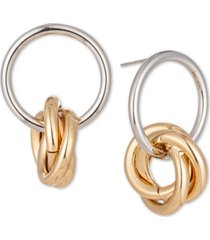 charter club two-tone twisted ring double drop earrings, created for macy's