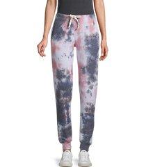 peach smoke tie dyed-print jogger pants