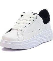 tenis blanco por negro blanco perla zp-098