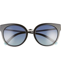 women's tiffany & co. 54mm polarized butterfly sunglasses - black/ azure grad