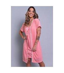 camisola feminina com robe serra e mar modas malha lisa cíntia coral