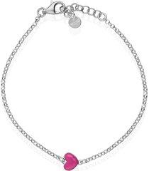 bracciale in argento rodiato e smalto fucsia con simbolo cuore per donna