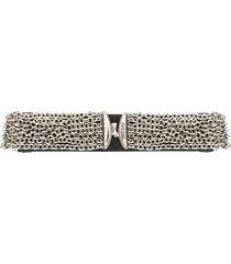 just cavalli chain embellished waist belt - black