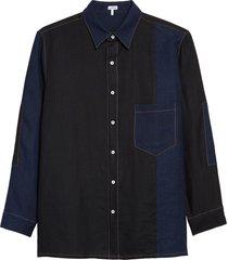 men's loewe patch pocket linen shirt