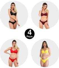 kit 4 conjunto imi lingerie strappy bra em microfibra lãzia sortido - multicolorido - feminino - dafiti