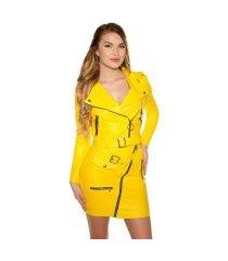 sexy bikerlook jas met ritssluitingen & riem geel