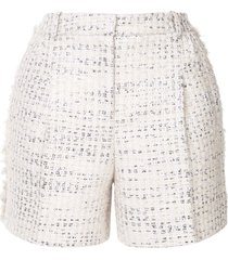 zuhair murad metallic thread tweed shorts - white
