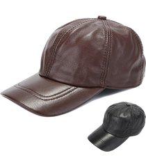 cappello in pelle ottagonale con cappuccio in pu da uomo cappello in cotone  regolabile con notino bb8418fcfed6