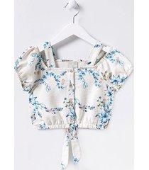 blusa infantil ciganinha com alça estampa floral - tam 5 a 14 anos