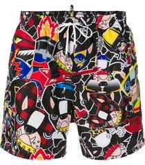 dsquared2 dogs print swim shorts - black