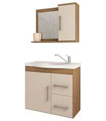 gabinete suspenso para banheiro vix 56,5x63,5cm carvalho e off white