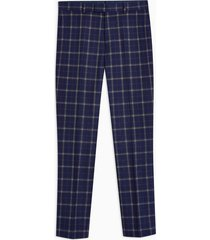 mens navy check tailored fit pants