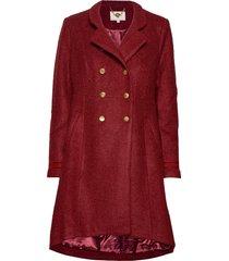 annabell coat wollen jas lange jas rood cream