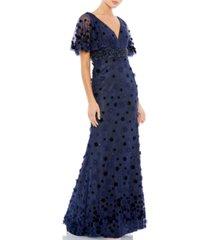 mac duggal floral applique gown