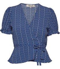 emilia top blouses short-sleeved blå diane von furstenberg
