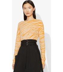 proenza schouler tiger print long sleeve t-shirt peach/apricot diagonal/yellow xs