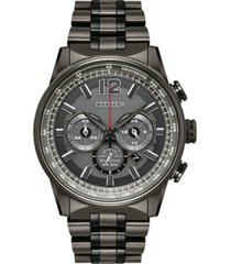 citizen eco-drive men's chronograph nighthawk gray stainless steel bracelet watch 43mm