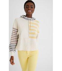 hooded sweatshirt stripes - white - xl