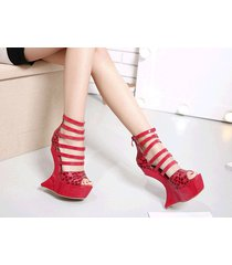ps328 cutie strappy alien wedge sandals, us size 4-9, red