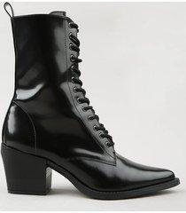 bota coturno feminina mindset bico fino preta
