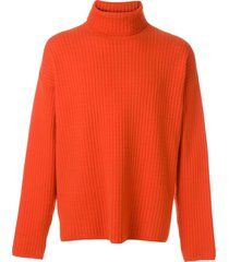 ami turtleneck oversize fit double face rib sweater - red