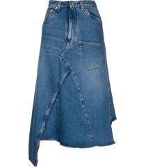 loewe deconstructed denim midi skirt - blue