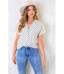 polkadot blouse korte mouwen creme