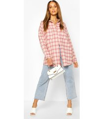 extreme oversized flannel shirt with pockets, pink