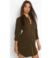 oversized blouse jurk met lange zoom, kaki
