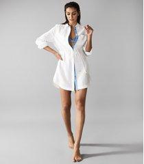 reiss sicily - linen shirt dress in white, womens, size 10