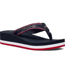 tommy mid wedge beach sandal shoes summer shoes flat sandals blå tommy hilfiger