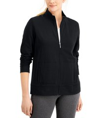 karen scott petite french terry mock-neck jacket, created for macy's
