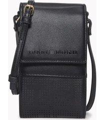 tommy hilfiger women's logo crossbody wallet black -