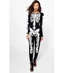 tall halloween skelet jumpsuit, zwart