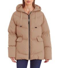 women's avec les filles water resistant hooded cozy duvet puffer jacket, size xx-large - brown