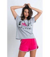 conjunto de pijama acuo com shorts atoalhado feminino