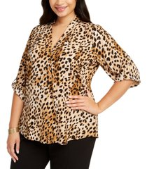 calvin klein plus size pleated-trim roll-sleeve top