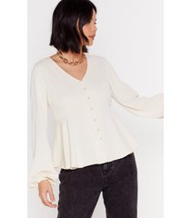 womens button a serious note relaxed button-down blouse - cream