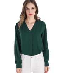 blusa pliegue frontal verde nicopoly