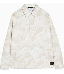 mens beige stone camouflage coach jacket