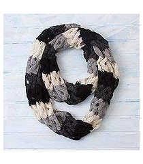100% alpaca infinity scarf, 'fascinating wave' (peru)