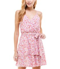 crystal doll juniors' floral-print sleeveless fit & flare dress