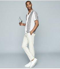 reiss solar - striped linen shirt in grey & white, mens, size xs