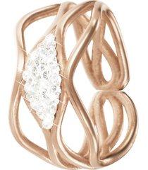 anello in ottone rosato e cristalli per donna