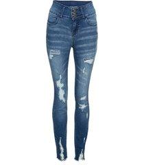 jeans a vita alta strappati (blu) - rainbow