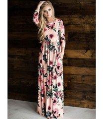 vestido largo estampado floral para mujer correa con cuello en v vestidos de playa divididos media manga suelta vestidos-rosa