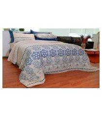 jogo de cama casal 140 fios sultan realce luna 4 peças azul