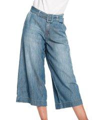 pantalon culotte azul medio claro