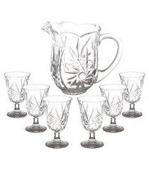conjunto com jarra e 6 taças lyor cristal de chumbo prima
