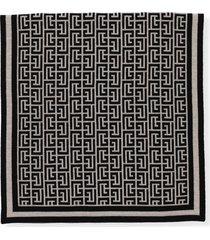 balmain wool scarf with balmain monogram